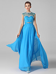 Formal Evening Dress Ball Gown High Neck Sweep / Brush Train Chiffon / Tulle with Crystal Detailing / Side Draping