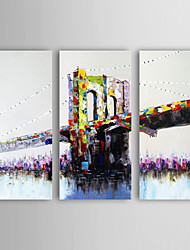 Oil Painting Landscape Bridge Set of 3 Hand Painted Canvas with Stretched Framed Ready to Hang