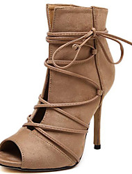 Women's Shoes Synthetic Stiletto Heel Peep Toe Sandals Wedding / Party & Evening / Dress / Casual Black / Beige