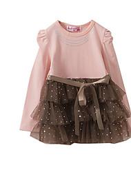 Vestido Chica de-Primavera / Otoño-Algodón-Negro / Rosa