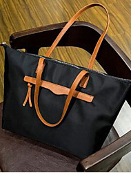 Women Oxford Cloth Shopper Tote - Brown / Black