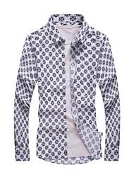 Men's Long Sleeve Shirt,Cotton Casual / Formal Print
