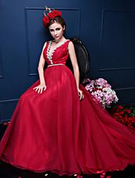 A-line Wedding Dress Court Train V-neck Crepe with Crystal