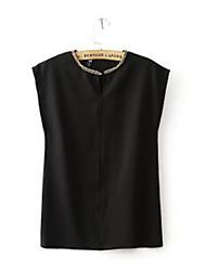 Women's Summer Style Blouses Chiffon Round Neck Beaded Loose Chiffon Shirt Short Sleeve Shirts Top