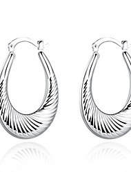 lureme®Fashion Style 925 Sterling Sliver Oval Shaped Hoop Earrings