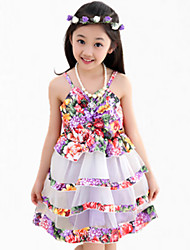 Girl's Purple / Red Dress,Floral Cotton Summer