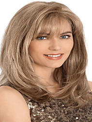 Popular Style European Lady Brown Color Long Curly Synthetic Wig