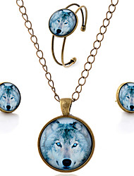 Lureme® Time Gem Series Simple Vintage Style Wolf Pendant Necklace Stud Earrings Bangle Jewelry Sets