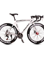 Dequilon aluminum road bike 21/18/16 muscle machete-speed disc brakes 21-speed version of the classic white sports