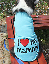 Katzen / Hunde T-shirt Orange / Blau / Rosa / Grau Hundekleidung Sommer / Frühling/Herbst Buchstabe & Nummer Modisch