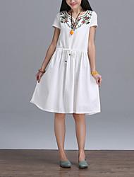 Women's Vintage / Simple Sheath Dress,Floral Round Neck Knee-length Short Sleeve White Cotton / Linen Summer