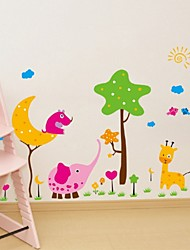 3D Colorful Cartoon Animal Zoo Kids Room Decal Wall Stickers Gifts Elephant /Adesivo De Parede For Nursery