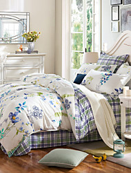 Blue plaid 100% Cotton Bedclothes 4pcs Bedding Set Queen Size Duvet Cover Set