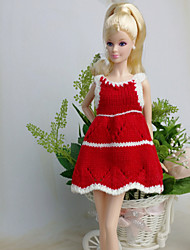 Casual Dresses For Barbie Doll Red / White Dresses