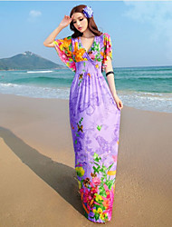 Women's Beach / Plus Size Boho Swing Dress,Floral V Neck Maxi Short Sleeve Purple Spandex Summer