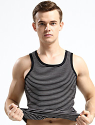 Men's Striped Casual Tank Tops,Modal Sleeveless-Black