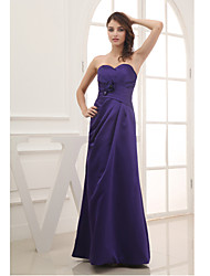 Floor-length Satin Bridesmaid Dress-Regency Sheath/Column Sweetheart