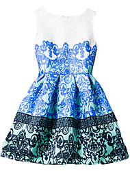 Girl's Blue / Red Dress / Skirt,Print Polyester Summer / Spring / Fall