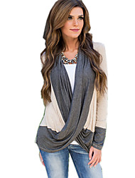 Women's Casual/Daily Street chic Fall T-shirt,Color Block Asymmetrical Long Sleeve Gray Cotton Opaque