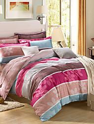 Colorful striped 100% Cotton Bedclothes 4pcs Bedding Set Queen Size Duvet Cover Set good qulity
