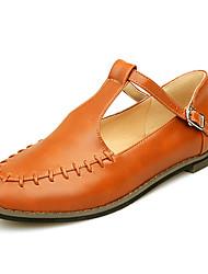 Zapatos de mujer-Tacón Plano-Tira en T / Puntiagudos-Planos-Exterior / Oficina y Trabajo / Vestido / Casual / Fiesta y Noche-Semicuero-