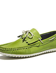 Men's Spring Summer Fall Winter Comfort Nappa Leather Casual Flat Heel Lace-up Black Green White
