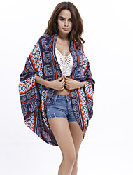 Women's Fashion Print Sun Pretection Sea Beach Cape Sleeve Shirt