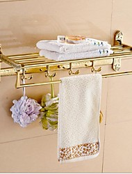Gold-Plated bathroom wall shelf antique brass material shelf bath shower shelves with towel bar bathroom accessories