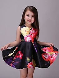 Girl's Black Dress,Floral Polyester Summer