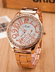 L.WEST Ladies' Flower Diamonds Steel Belt Quartz Watch