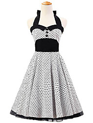 50s Era Vintage Style Halterneck Buttons Rockabilly Dress Cosplay Costume White Black Mini Polka Dot (with Petticoat)