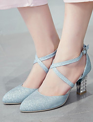 Wedding Shoes-Saltos-Saltos / Bico Fino-Azul / Prateado / Dourado-Feminino / Para Meninas-Casamento / Social / Festas & Noite