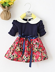 Girl's Pink / Red / Yellow Dress,Floral Cotton All Seasons