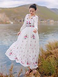 Damen Kleid - Swing Urlaub / Strand Blumen Maxi Baumwolle Tiefes V