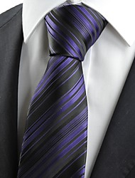 New Striped Purpe Black Mens Tie Necktie Formal Wedding Party Holiday Gift KT0012
