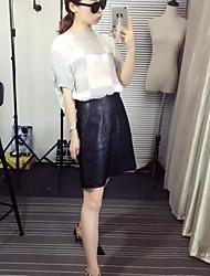 Women's Solid Black / Brown Skirts,Simple Above Knee