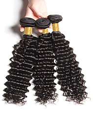 "3pcs/Lot 8""-30"" Mix Size Color #1B Peruvian Kinky Curly Virgin Human Hair Extensions Bundles Thick & Soft"