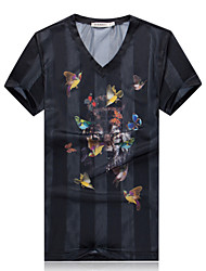Men's Fashion Chinese Style Print V Neck Silk Slim Fit Short-Sleeve T-Shirt