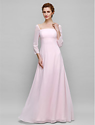 Lanting Bride® Sheath / Column Mother of the Bride Dress Floor-length 3/4 Length Sleeve Chiffon with