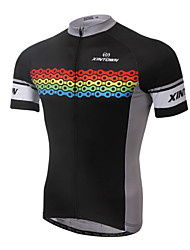 XINTOWN Cycling Jersey Men's Short Sleeves Bike Jersey Tops Quick Dry Ultraviolet Resistant Breathable Limits Bacteria Elastane Terylene