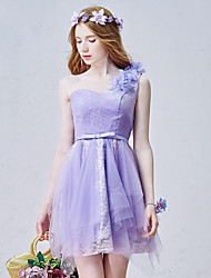 Short / Mini Tulle Bridesmaid Dress A-line One Shoulder with Bow(s) / Flower(s) / Lace