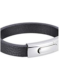 Men's Black Leather Cutting Wire Bracelets 1pc