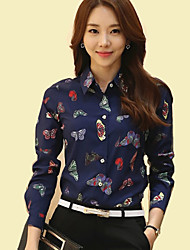 Women's Shirt Collar Butterfly Print Long Sleeve OL/Daily Chiffon Shirt