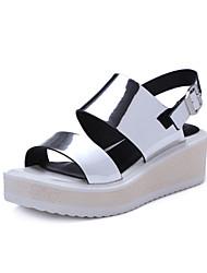 Women's Shoes Leather Low Heel Open Toe Sandals Dress / Casual Pink / Silver / Gold / Beige