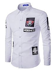 Men's Long Sleeve Shirt,Cotton Casual / Work / Formal / Sport Print