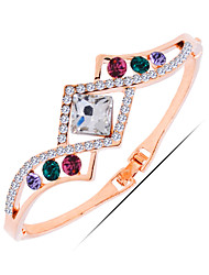 Party Gold Plated / Alloy / Rhinestone / Gemstone & Crystal Bangle Bracelet