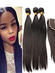 brasilianisches reines Haar mit Verschluss gerade 4pcs / lot 5a des brasilianischen reinen Haares gerade Spitze Schließung mit Bündeln