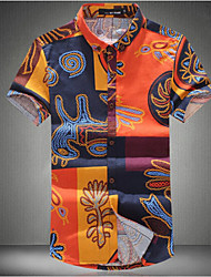 Men's Short Sleeve Shirt,Cotton Casual Patchwork