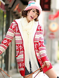 Women's Print Blue / Red / Black Cardigan,Street chic Long Sleeve