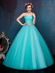 Ball Gown Sweetheart Floor Length Tulle Evening Dress with Crystal